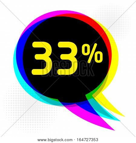 Speech Bubble in Pop-Art Style business concept with text thirty-three percent Discount vector illustration