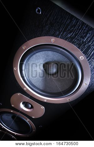 Sound speaker close-up. Audio stereo system on black background