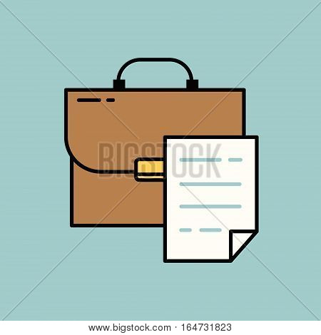 Briefcase with document. Flat design vector illustration.