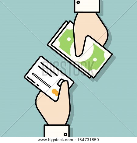 Hand with credit card and hand with cash money. Payment methods. Flat design vector illustration.