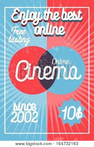 Color vintage online cinema banner. Film symbols. Vector illustration, EPS 10