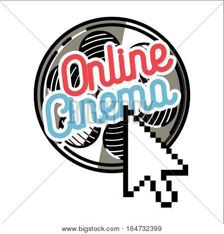 Color vintage online cinema emblem. Film symbols. Vector illustration, EPS 10