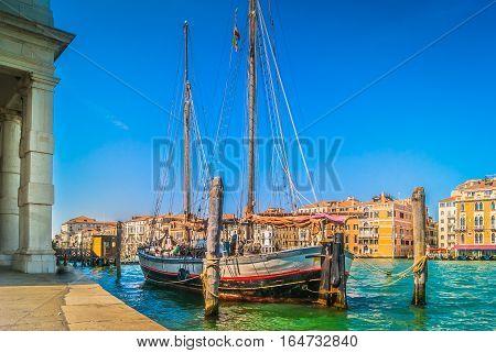 Scenic view at coastline in famous touristic city Venice, italian travel places.
