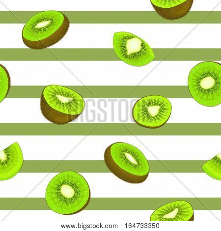 Seamless vector pattern of ripe kiwifruit. Striped background with delicious juicy green kiwi slice half slice leaves. Vector fresh fruit Illustration for printing on fabric, textile, design packaging