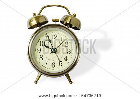 Old vintage alarm clock with bells,isolated on  white background