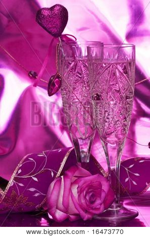 celebration table, rose and glasses with champagne