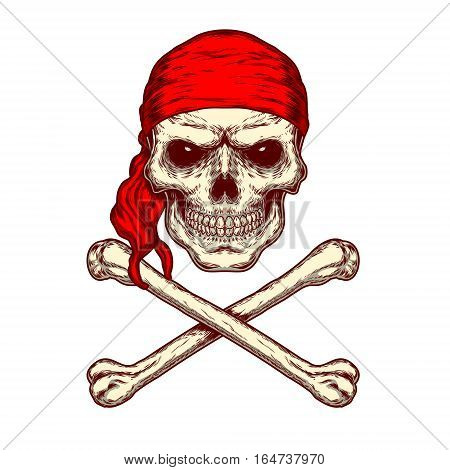 illustration of a skull in red bandana and crossbones. Print for T-shirts