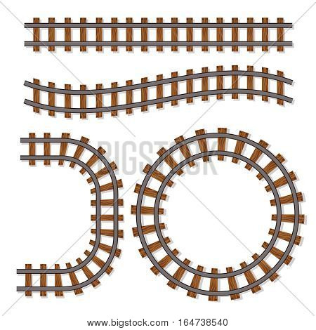 Passenger train vector rail tracks brush, railway line or railroad elements isolated on white background. Design of rail way for transportation illustration