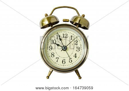 Old vintage alarm clock with bells,isolated on  white background  with clipping path