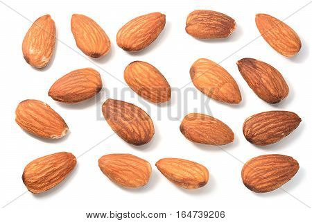 Set of Almonds on a white background