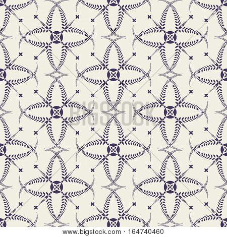 Religion seamless pattern. Laurel wreath, lace view texture with cross. Ceremonial, funeral background. Swirl stylized ornament. Purple, light gray colored. Vector
