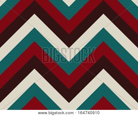 Striped, zigzagging seamless pattern. Zig-zag line texture. Stripy geometric background. Turquoise, white, brown, red contrast colored. Winter theme. Vector