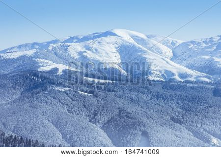 Winter Landscape Of The Mountains And Trees Covered By Snow In Brasov, Romania. View Of The Romanian