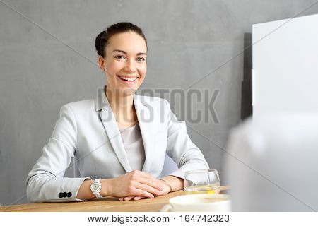 Intern. Young female employee on probation in a corporation