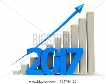 Blue business graph with blue arrow up represents growth in the year 2017 three-dimensional rendering 3D illustration