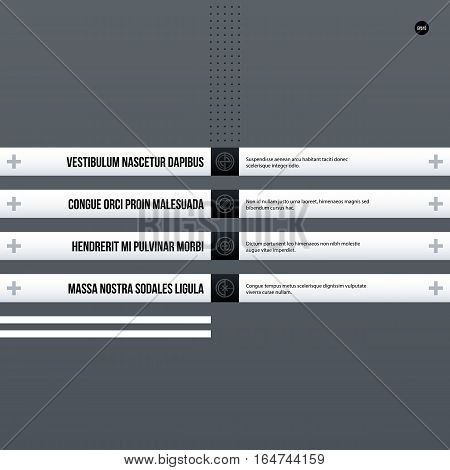 Futuristic Corporate Menu/list Template On Gray Background. Useful For Presentations, Advertising Or