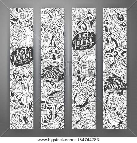 Cartoon cute line art vector hand drawn doodles travel corporate identity. 4 vertical journey banners design. Templates set