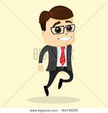Vector flat illustration. Business man smiling. Man jumping