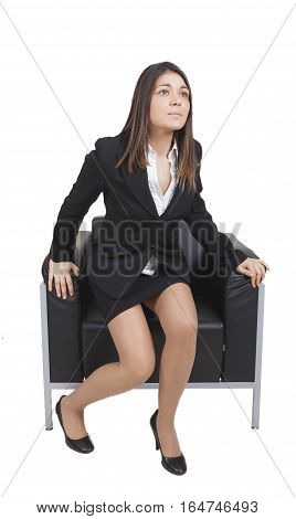 Businesswoman Is Getting Up From The Chair