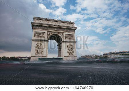Triumphal Arch. Paris. France. View Place Charles De Gaulle. Famous Touristic Architecture Landmark