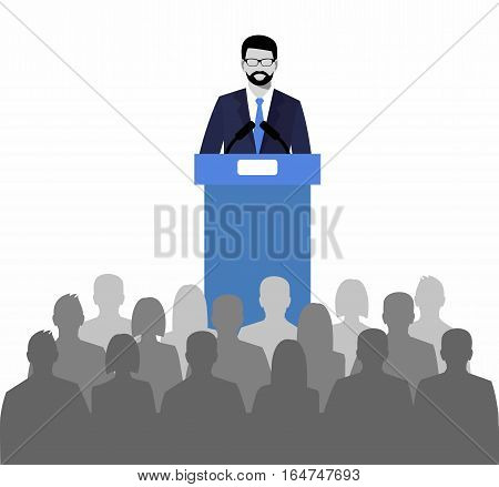 orator speaking from the tribune. public speaker and a crowd on chairs. vector illustration in the flat style