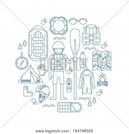 Vector illustration with rafting and camping equipment - vest, round-bouy, rafts, camping fire, helmet, tent, stopwatch etc.. Linear design. Could be used for websites, advertising, banners and flyers