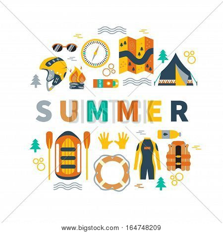 Summer round vector illustration with rafting and camping equipment - vest, round-bouy, rafts, camping fire, helmet, tent, stopwatch etc. Flat design. Could be used for websites, advertising, banners and flyers