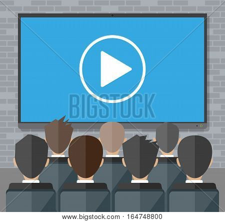 Video conference concept. Room with chairs and crowd, big digital screen with play icon. Online meeting, video call, webinar or training. Vector illustration in flat style
