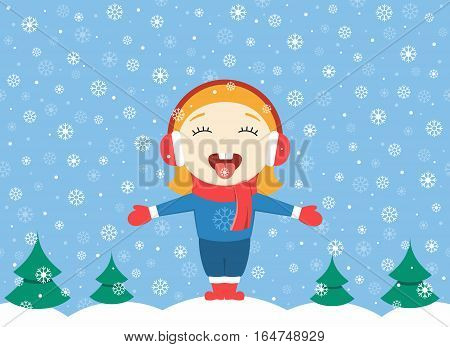 flat design vector illustration of cute little girl standing in the park on a winter day and catching snowflakes