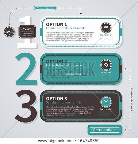 Three Numbered Options In Retro Style. Useful For Presentations And Advertising.