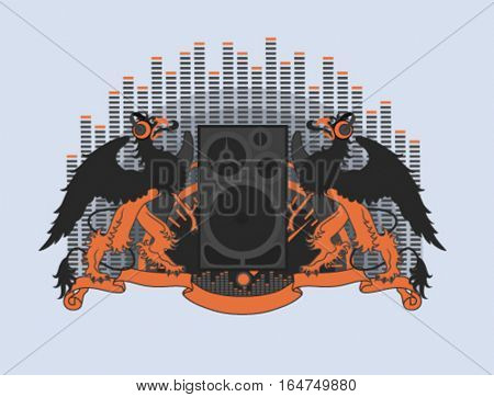Griffins in headphones. Modern heraldry vector illustration.