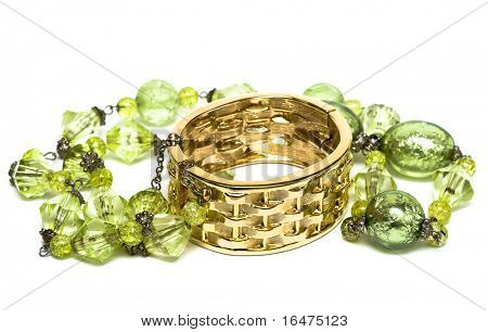 golden bracelet with beads isolated on white background