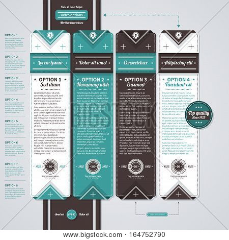 Four Vertical Banners In Retro Style. Useful For Presentations And Advertising.