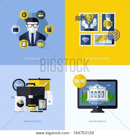 Flat vector design with banking symbols and icons. Conceptual illustrations of private banking, banknotes and coins, bank accounts and online banking