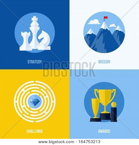 Set of modern flat vector business elements for websites and mobile apps. Concepts for strategy, mission, challenge, awards
