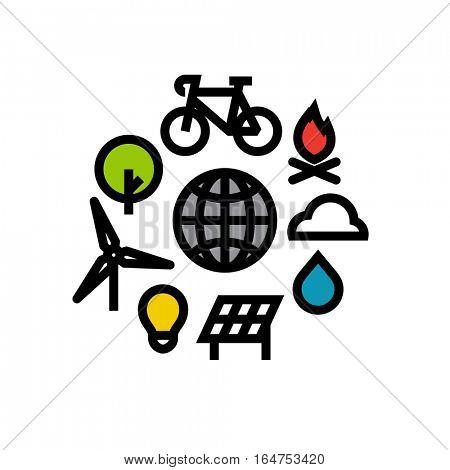 Ecology flat line icons