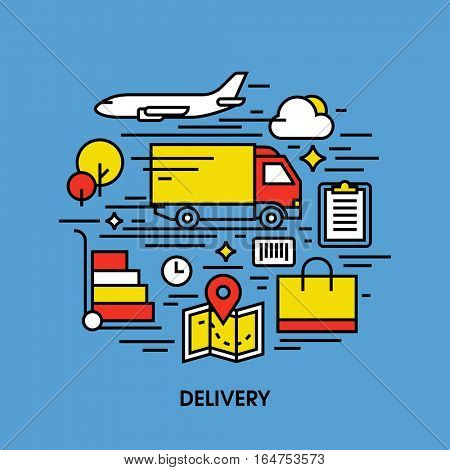 Flat line icons set of shipping methods. Creative design elements of air and ground transport