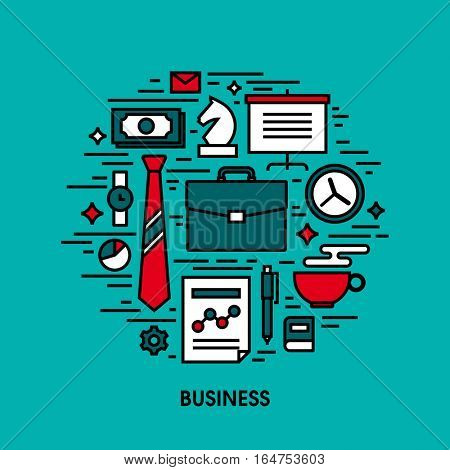 Creative flat line icons of business, finance, making money