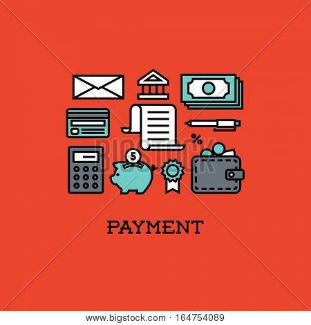 Flat line icons set of payment. Creative design elements for websites, mobile apps and printed materials