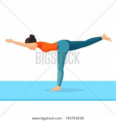 Girl standing on one leg and dragging another backward, hands forward. Yoga exercise good for health. Vector full length portrait of female person in special clothes doing gymnastics on carpet
