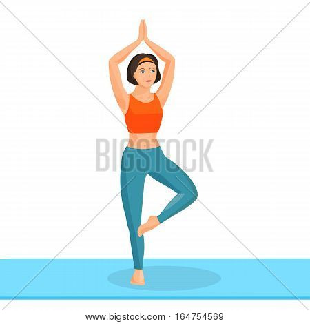 Girl practising yoga exercise stands on one leg, another is bent and touches it and takes two hands above head. Vector illustration of female person doing pilates and meditating in asian style.