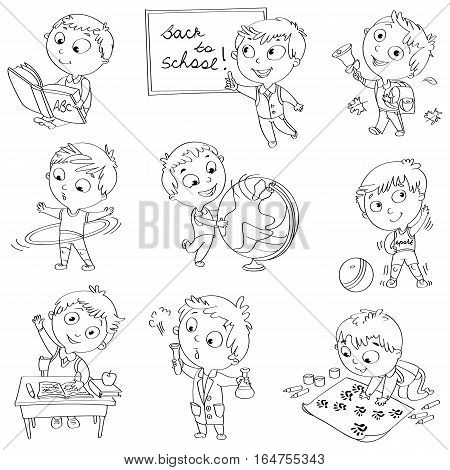 Cute schoolchild at a lesson of geography, literature, physical education, biology, chemistry, drawing. Schoolboy is raising his hand to answer a question. Wrote in chalk on blackboard Black and white