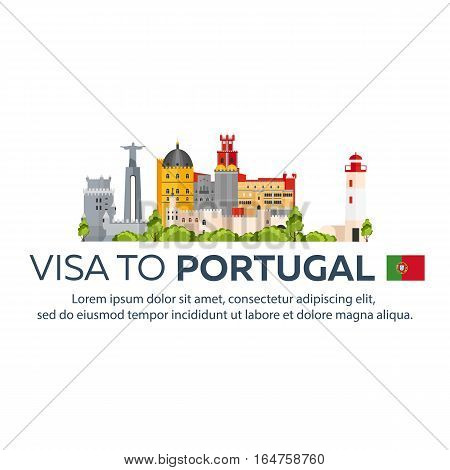 Visa To Portugal. Document For Travel. Vector Flat Illustration.