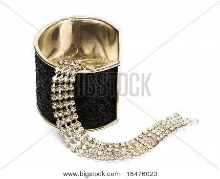 black bracelet with dimonds isolated on white background