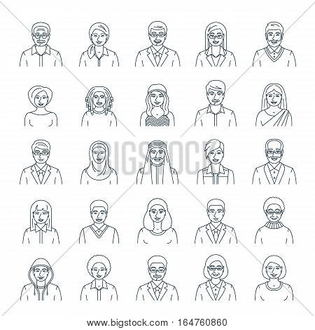 People faces avatars linear vector icons. Flat line portraits of men and women young and senior. Caucasian African Asian Arab ethnicity. Characters with different lifestyles hairstyles clothes