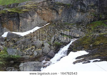 This is one of the waterfalls which are formed annually in the mountains of Norway from snowmelt.