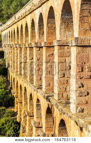 Les Ferreres Aqueduct, also known as Pont del Diable. A part of the Roman aqueduct built to supply water to the ancient city of Tarraco - now Tarragona, Spain