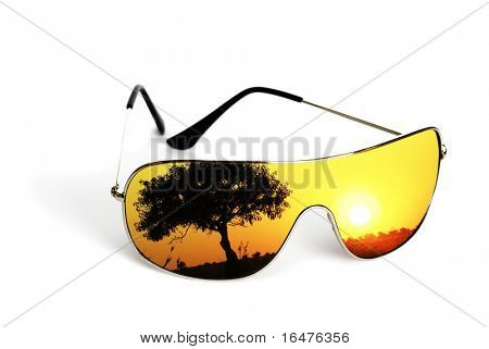 sunglasses with reflection isolated on white background