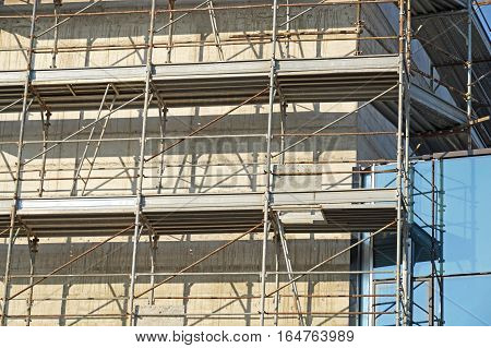 Construction scaffolding of a building under renovation