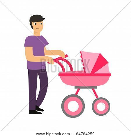 Cartoon Cute Dad with a Stroller Takes care of her Daughter Flat Design Style. Vector illustration